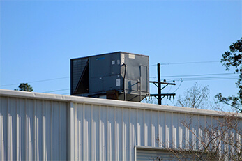A building-top commercial HVAC unit